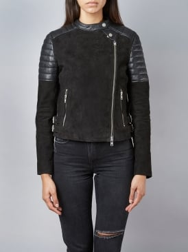 Murree Black Suede Biker Jacket