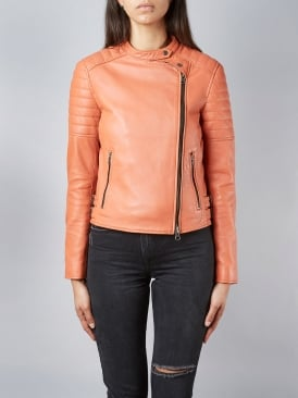 Murree Blood Orange Biker Leather Jacket