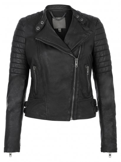 Abila Leather Quilted Jacket in Black