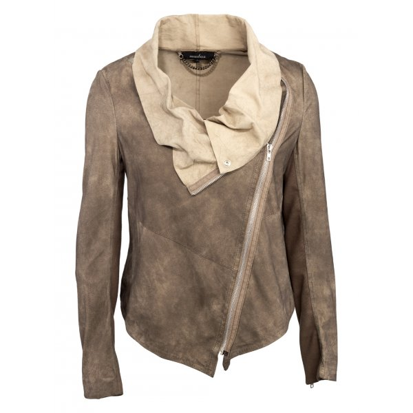 printed fisher short women mu jacket p eileen draped s sleeve belt prod skinny soft leather studded top suede drapes jeans
