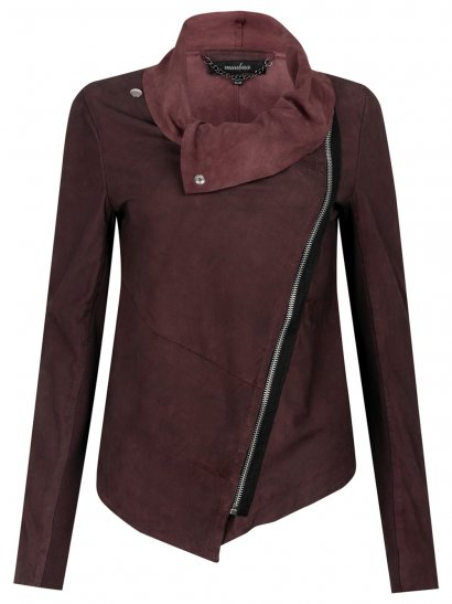 Alexis Drape Suede Jacket in Cherry Red