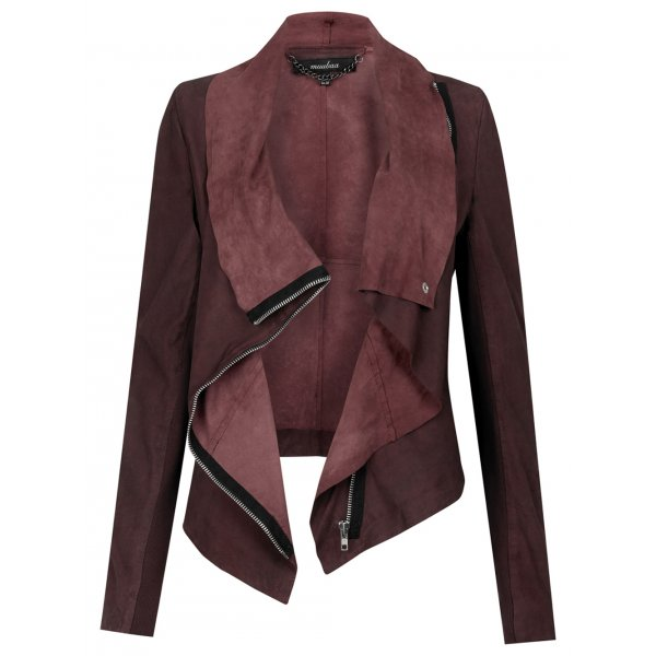 draped suede jacket image drape in muubaa alexis jackets drapes cherry red