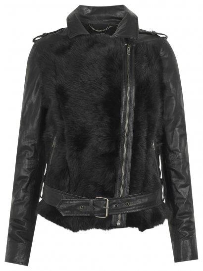 Aurora Shearling Biker Jacket in Black