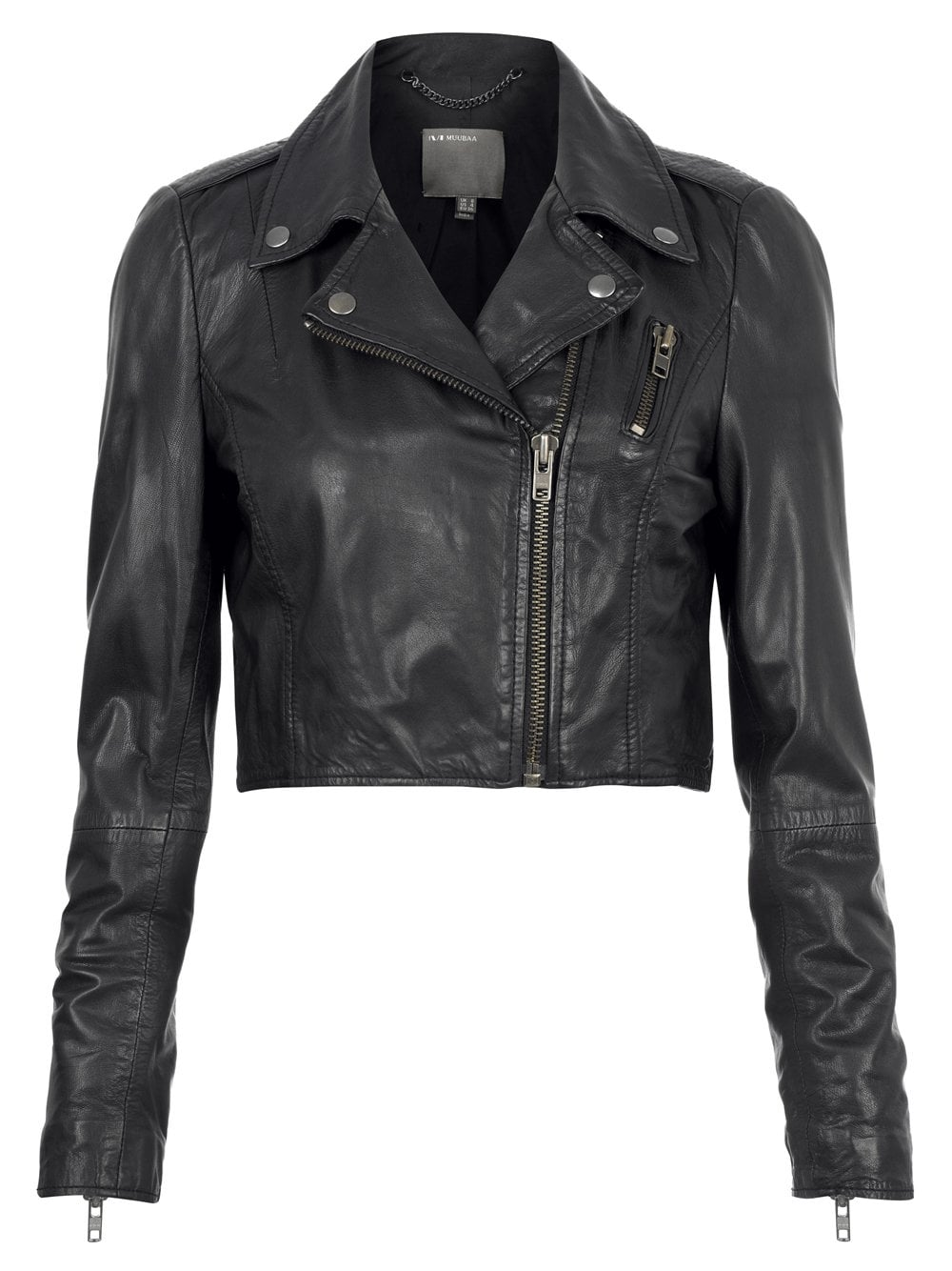 Cropped Leather Biker Jacket in Black