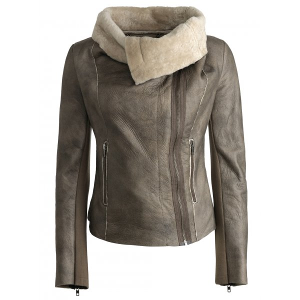 Bronson Cowl Sheepskin Jacket in Elephant Grey - Jackets from ...