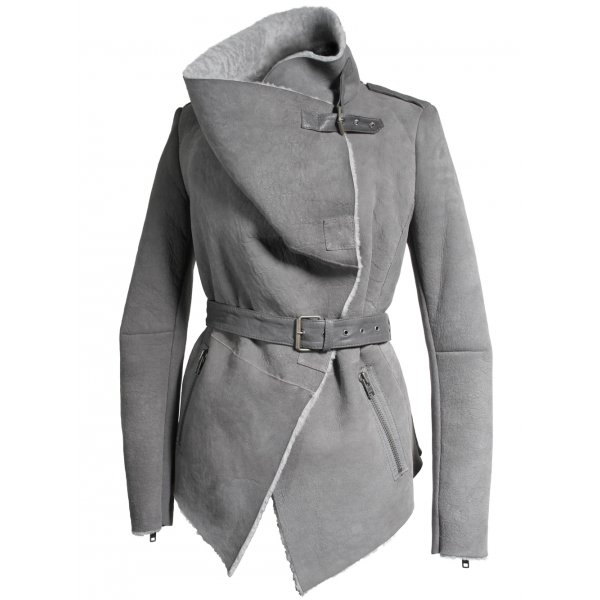 Cade Short Sheepskin Jacket in Mushroom - Jackets from Muubaa UK