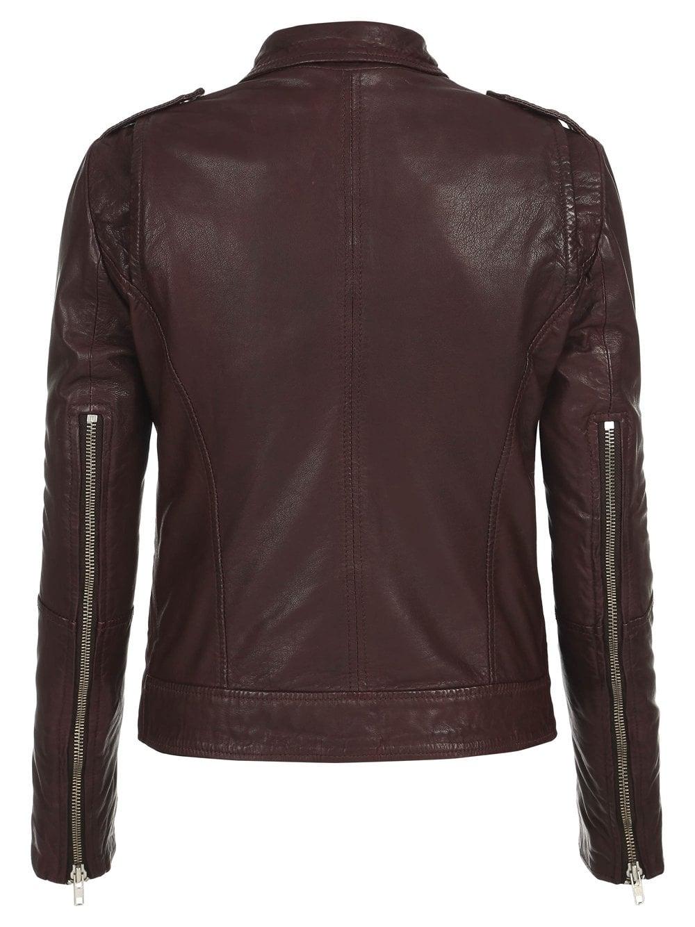 Muubaa Carmona Blue Leather Biker Jacket