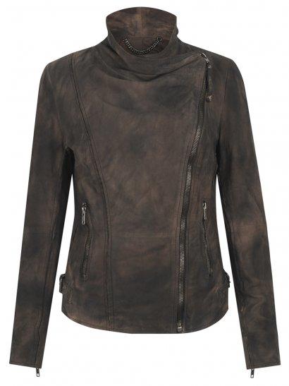 Juana Suede Biker Jacket in Wood Bark