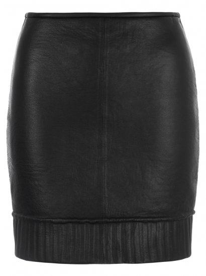 Karak Leather Knit Lined Skirt in Black