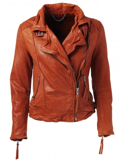 Keeley Leather Biker Jacket in Orange