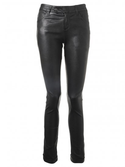 Lorenza Turn-Up Stretch Leather Jeans in Black