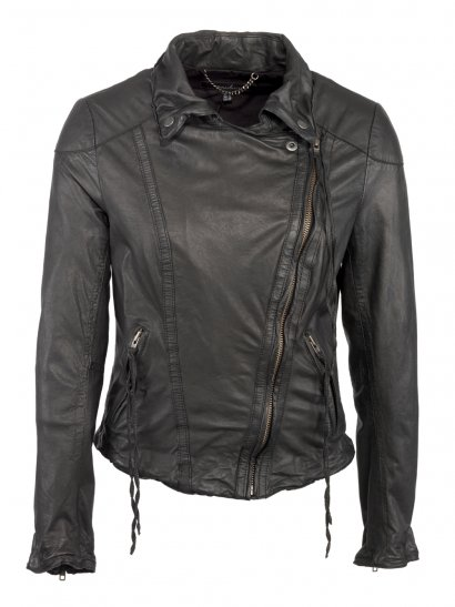 Meggie Leather Biker Jacket in Black
