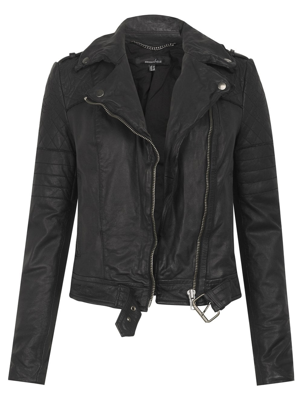 Muubaa Minsk Leather Quilted Biker in Black : leather quilted biker jacket - Adamdwight.com