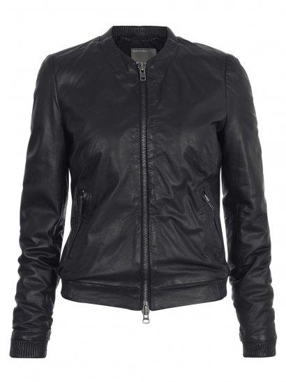 Naniwa Leather Blouson Jacket in Black