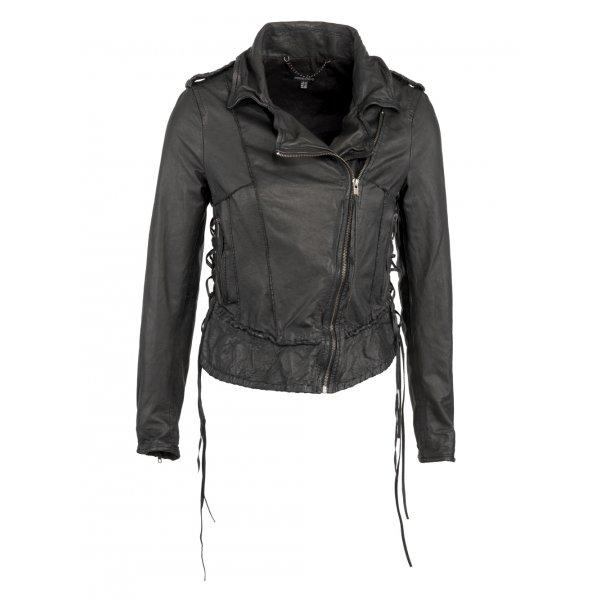 5dc1ee37d7e Reina Lace Up Leather Biker Jacket in Black - SHOP WOMEN from Muubaa UK