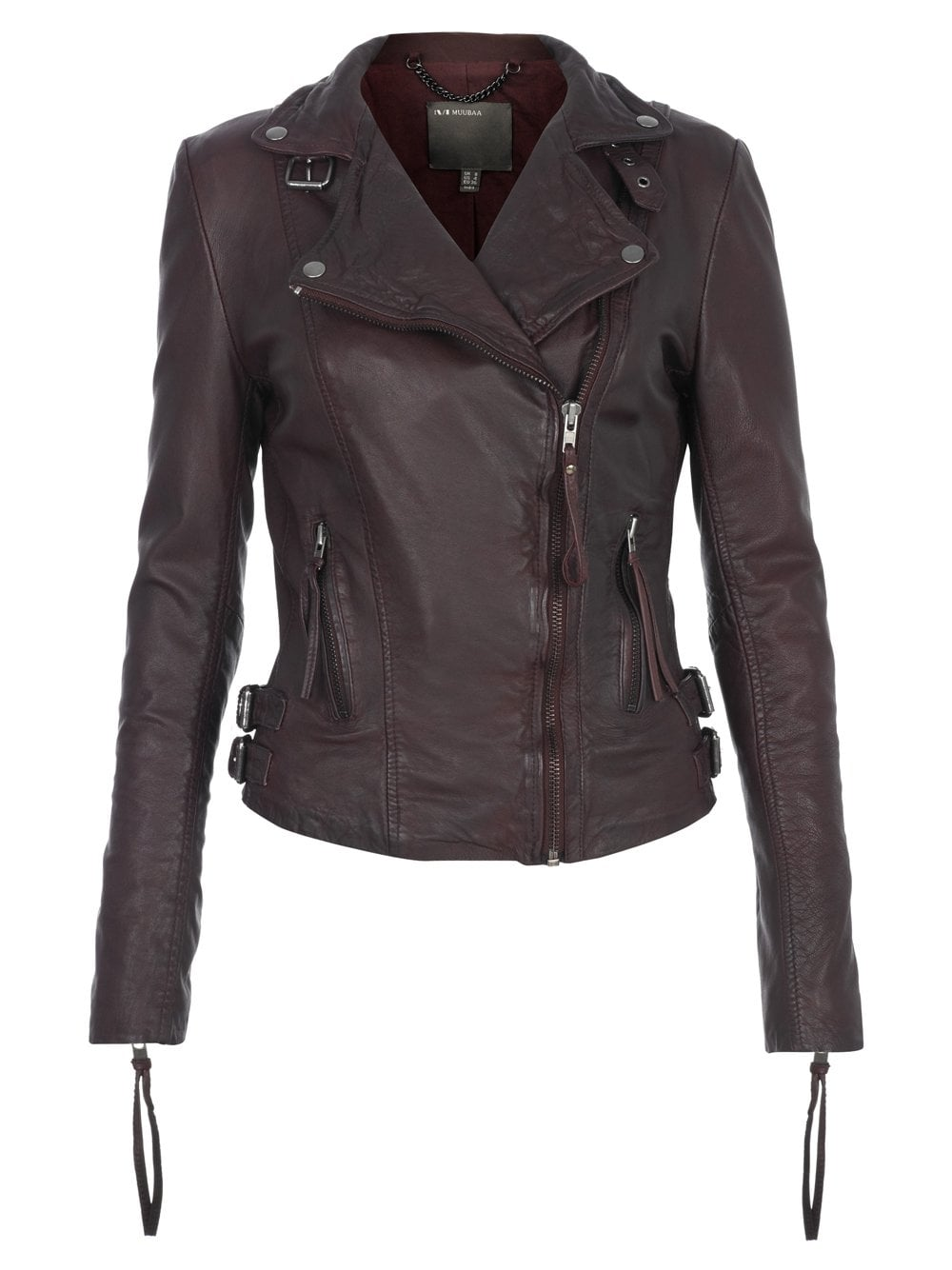 f522f7b4f Reval Leather Fitted Biker Jacket in Oxblood