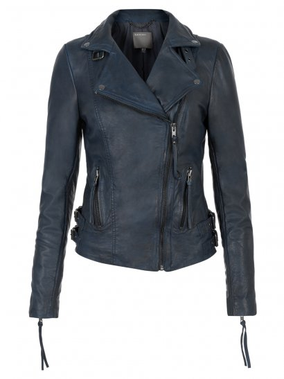 Reval Leather Fitted Biker Jacket in Petrol