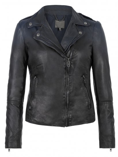 Salazar Leather Ombre Biker Jacket in Indigo