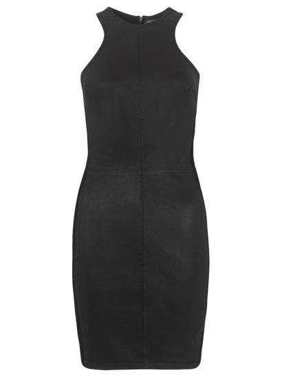 Tauri Leather-Denim Dress in Black