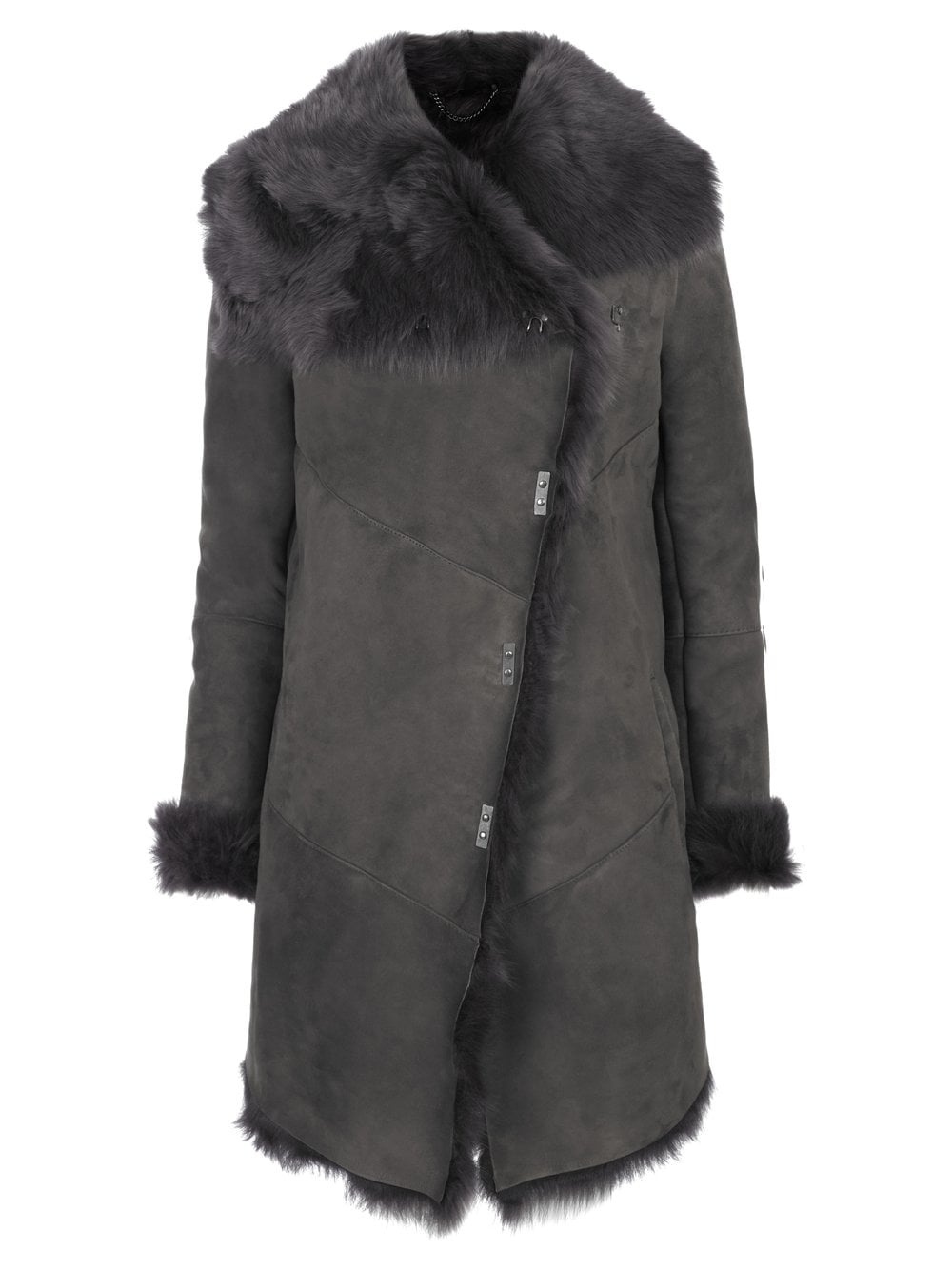 Shearling Coat in Storm Grey