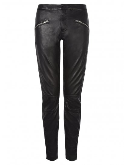 Yasi Leather Rider Trousers in Black