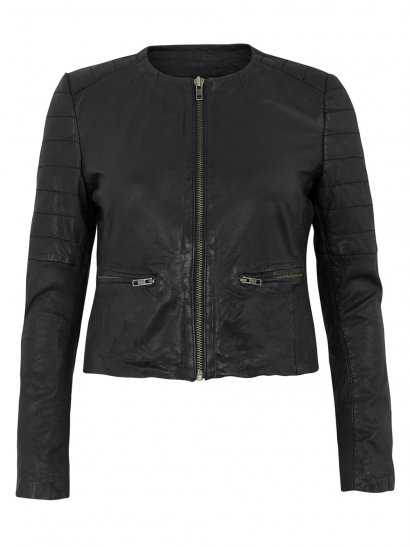 Zomsa Leather Quilted Biker in Black