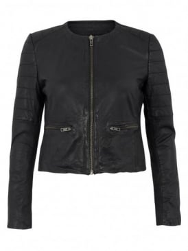 Muubaa Zomsa Leather Quilted Biker in Black