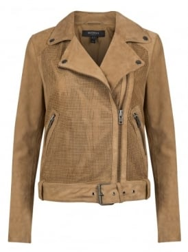 Newton Perforated Suede Biker Jacket