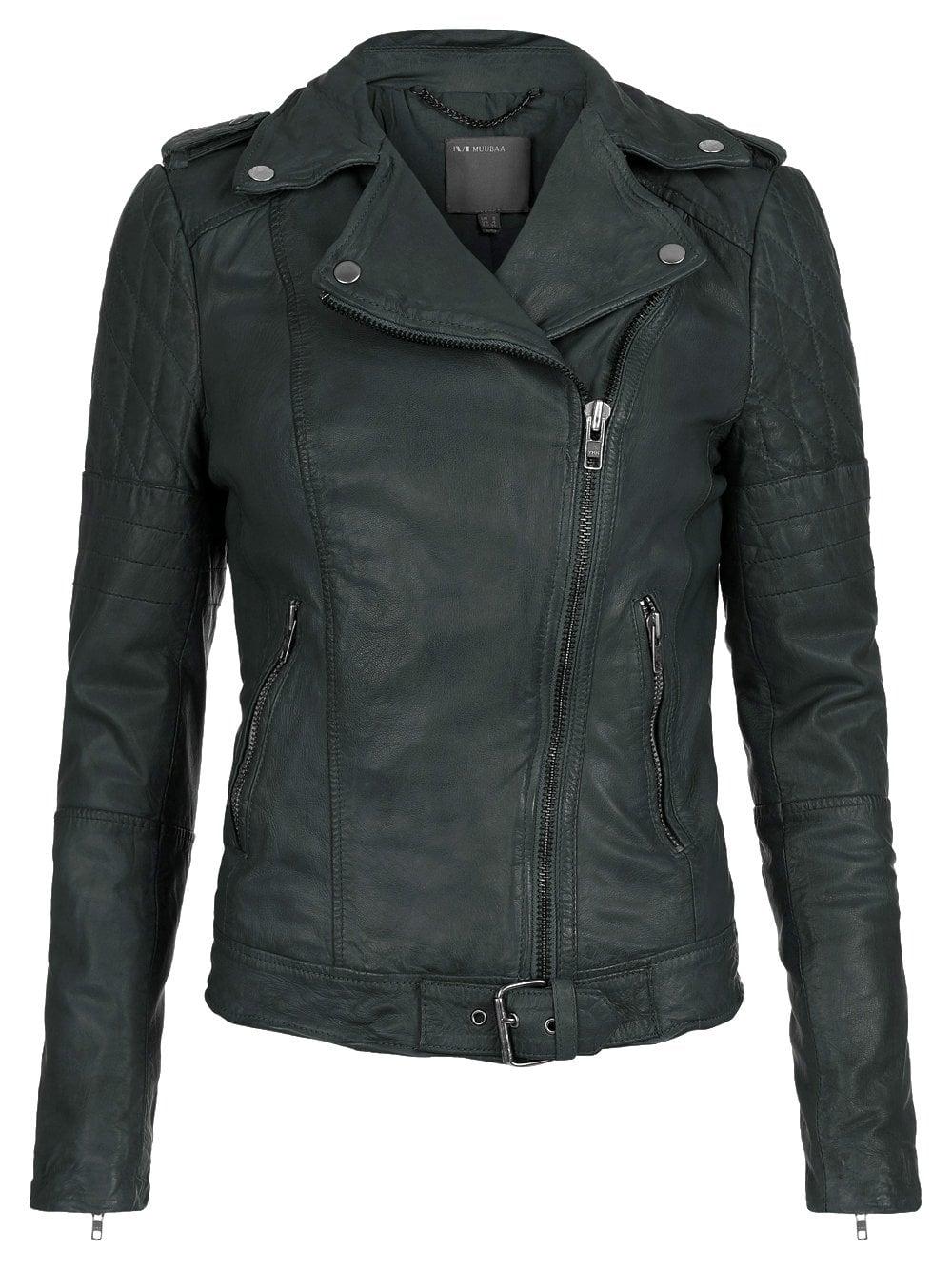 Muubaa Nido Green Leather Biker Jacket
