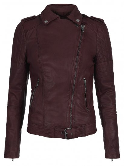 Nido Leather Quilted Biker Jacket in Deep Red