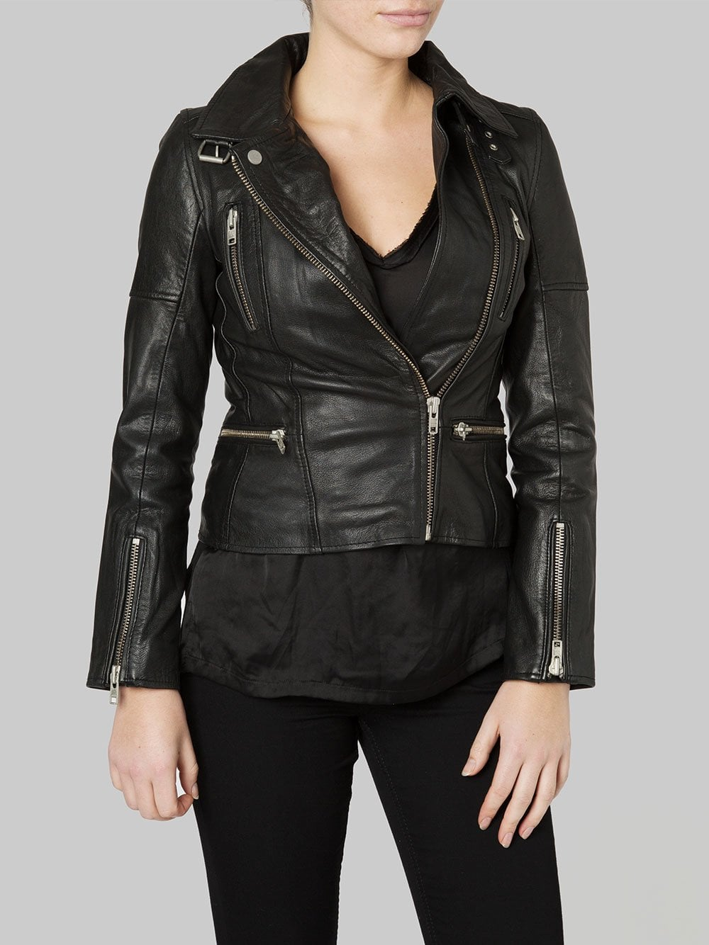 c4651a552bea Nobel Black Leather Biker Jacket - SHOP WOMEN from Muubaa UK