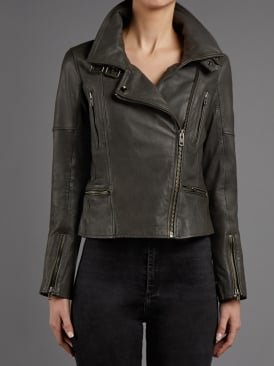 Nobel Granite Grey Leather Biker Jacket