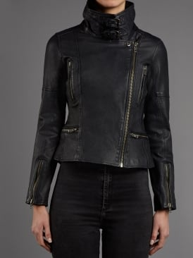 Nobel Midnight Leather Biker Jacket
