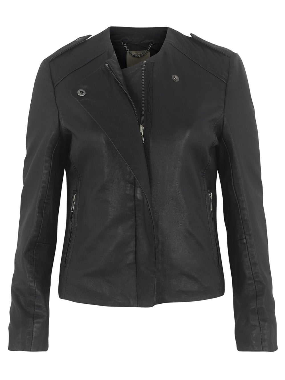 Muubaa Norma Collarless Leather Jacket in Black