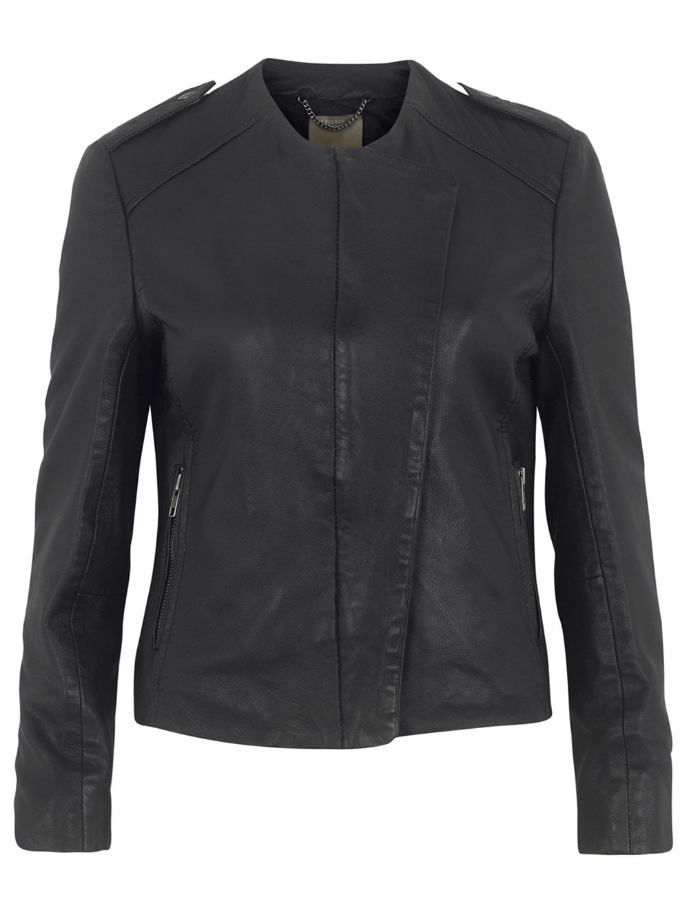 Muubaa Norma Collarless Leather Jacket in Black
