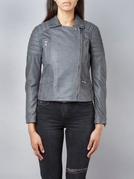 Nuthatch Charcoal Biker Leather Jacket