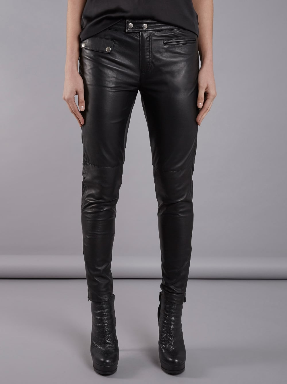 newest collection replicas discount shop Opel Black Leather Skinny Trousers