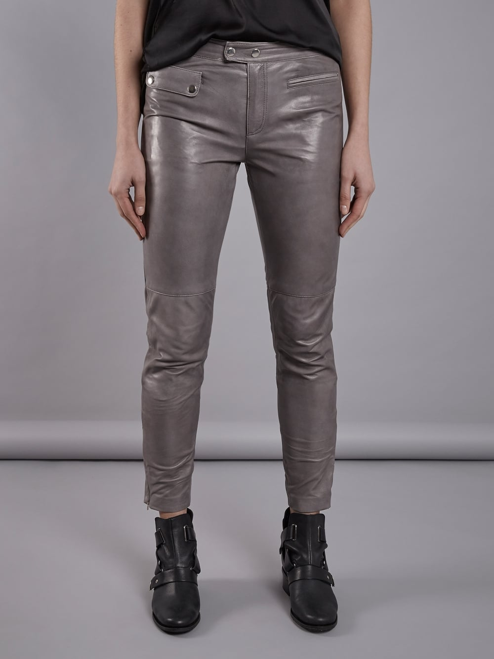 Women Straight fit Gray Leather Pants