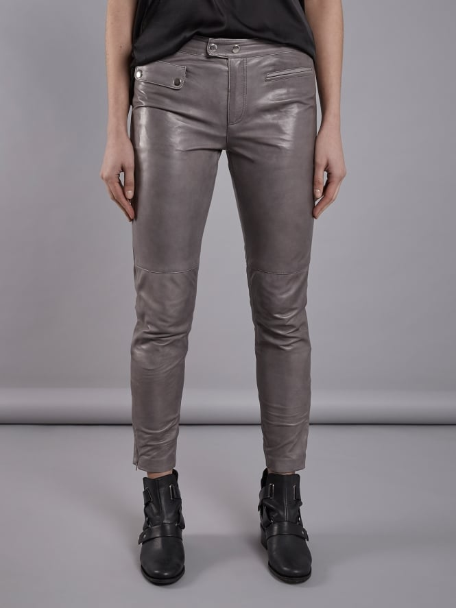Opel Grey Leather Skinny Trousers