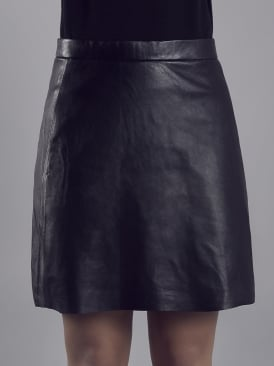 Pannala Black Leather A line Skirt
