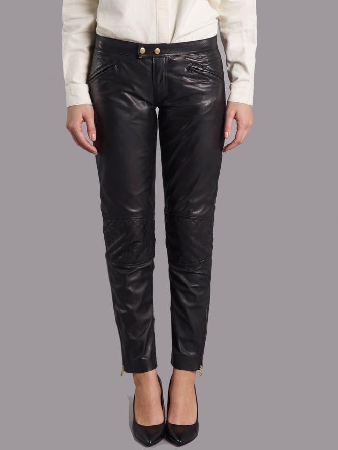 Parnell Black Leather Slimline Trousers