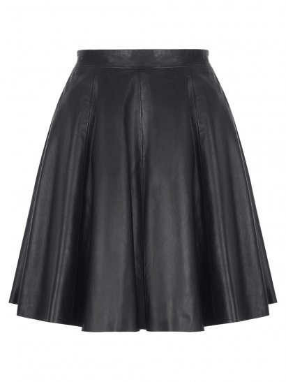Pipri Leather Skater Skirt in Black