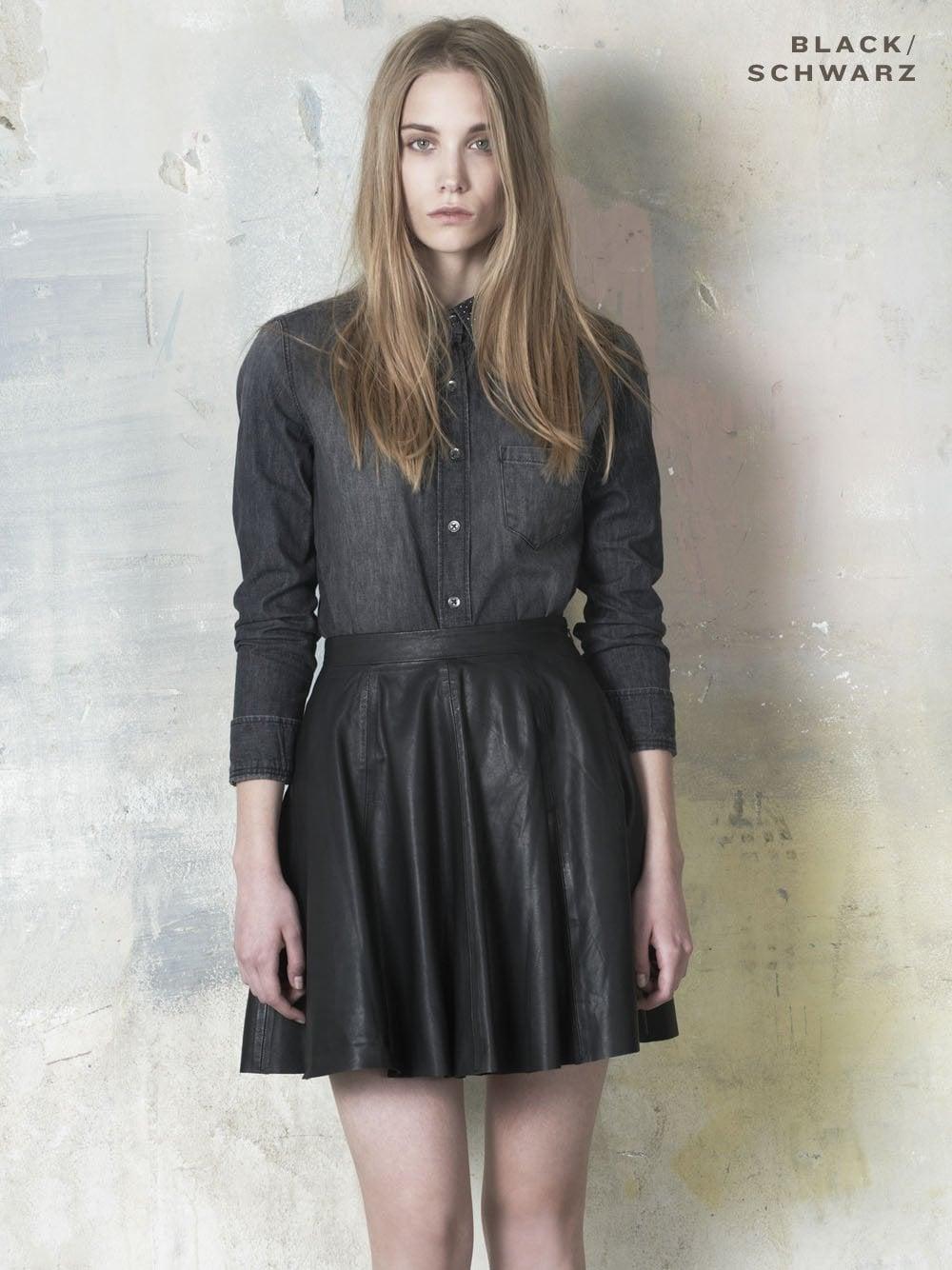 Leather Skater Skirt in Black