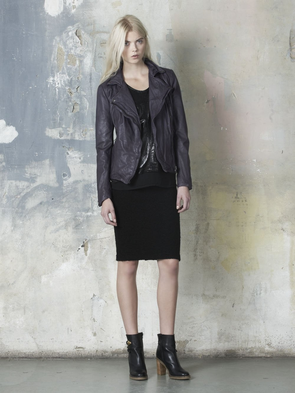 Moto Pola Leather In Jacket Plum CxBerdoW