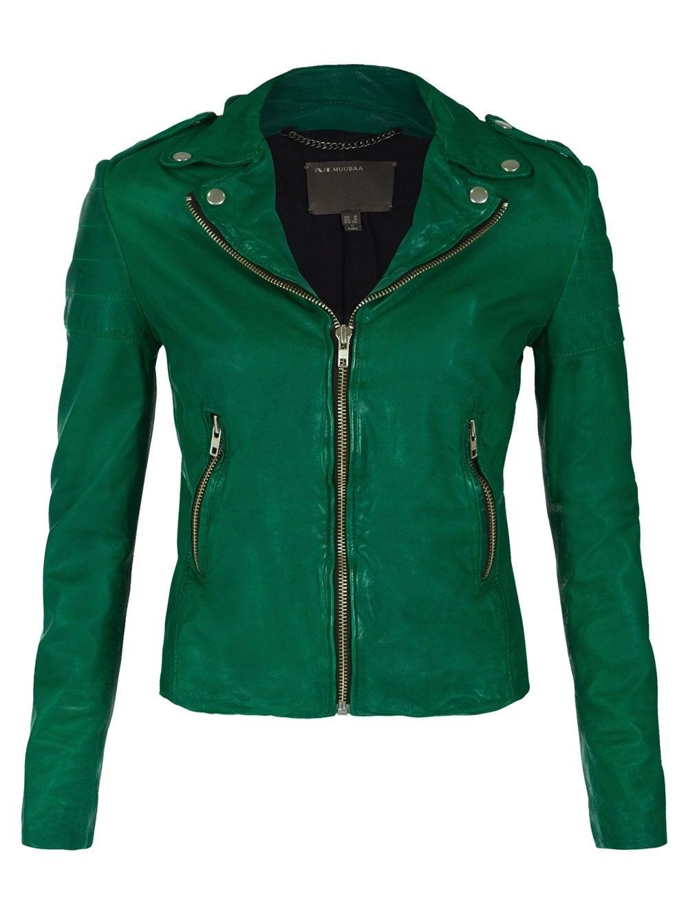 Muubaa Presley Green Leather Biker Jacket
