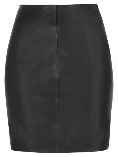 Priscu Black Leather Skirt