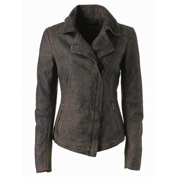 premiji fitted belted leather biker jacket in filemont brown