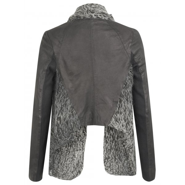 Knitting Pattern For Waterfall Jacket : Galatti Knitted Leather Waterfall Jacket in Granite Grey