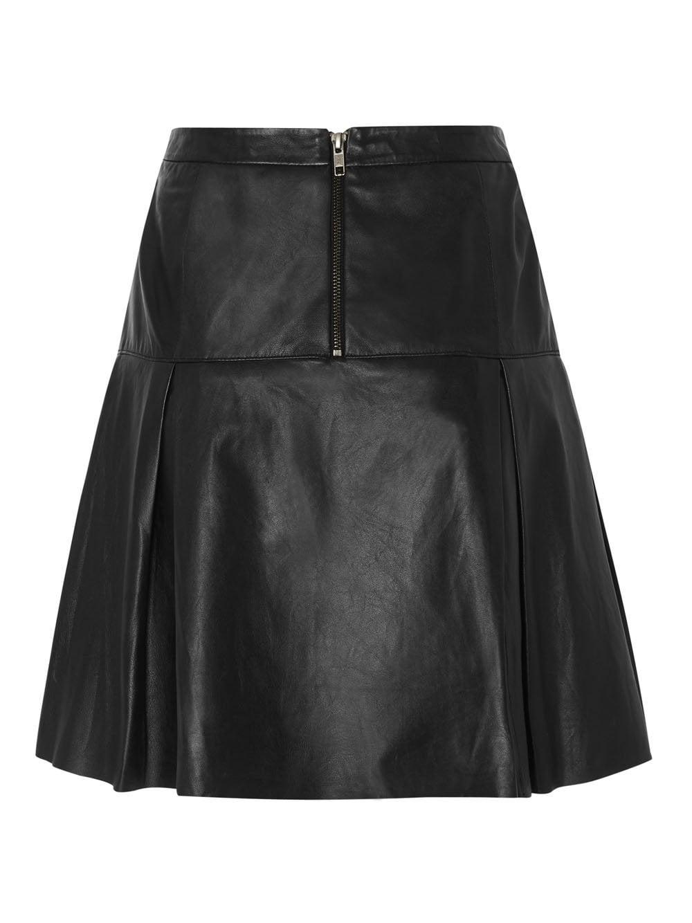vistula black pleat leather skirt