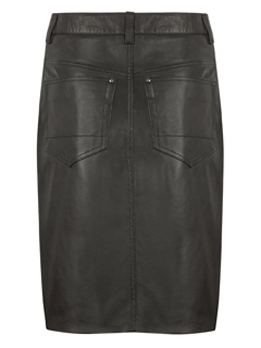 lambeth black leather denim pencil skirt muubaa from